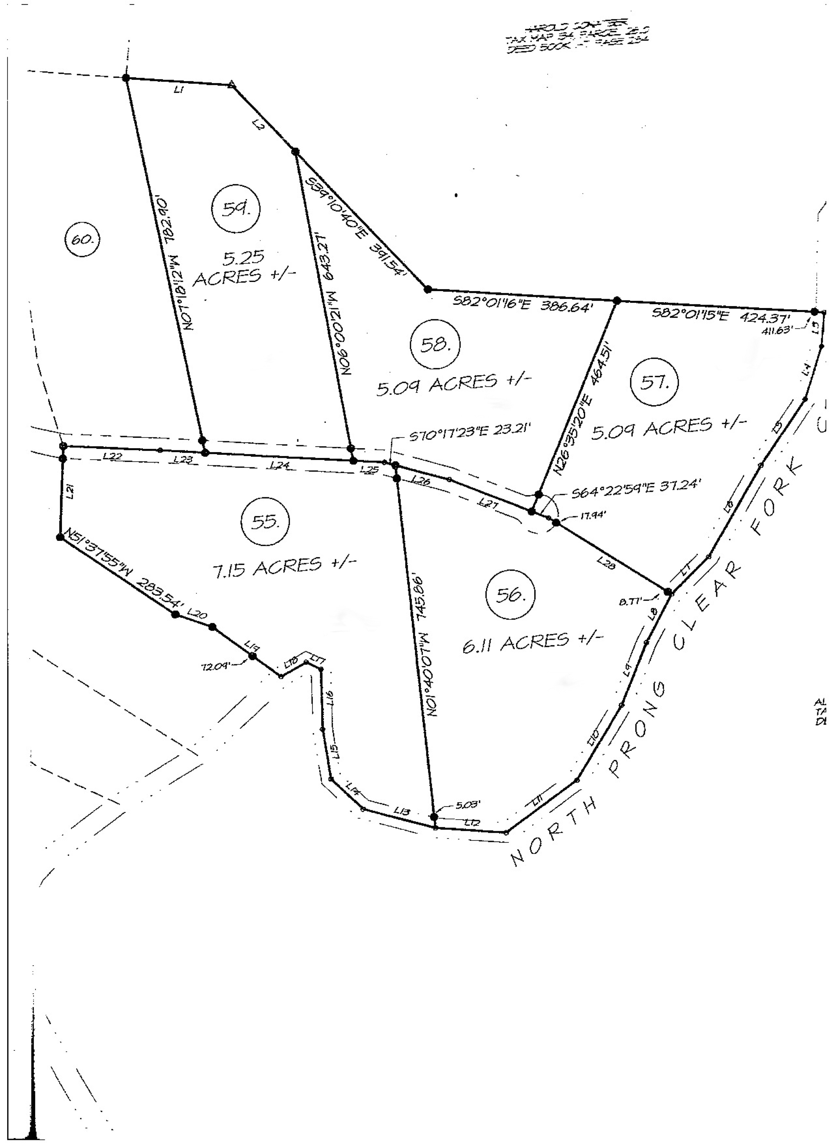Clear Fork Acres Phase II Overall Land Survey