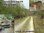 5 acres with old barn and creek